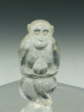Chinese Rock Crystal Carving Of A Monkey Holding A