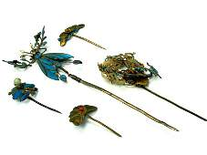 Gold Gilt on Silver Antique Chinese Hair Pins, Set of