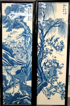 Pair Of Chinese Blue And White Porcelain Wall Panels.