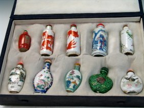 Group Of Ten Chinese Porcelain Snuff Bottles