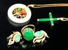 Chinese 14K Gold Jadeite Jewelry