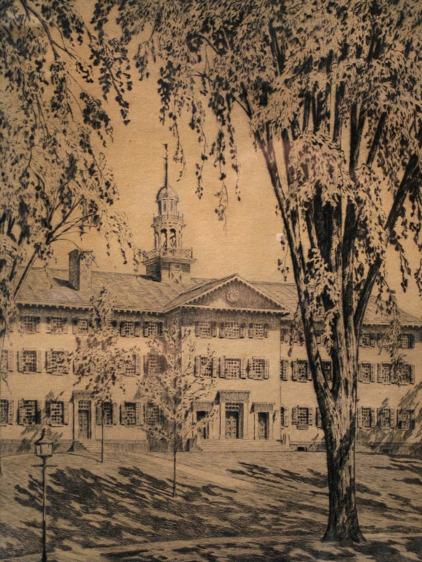 Darmouth Hall Lithograph signed lower right and titled,
