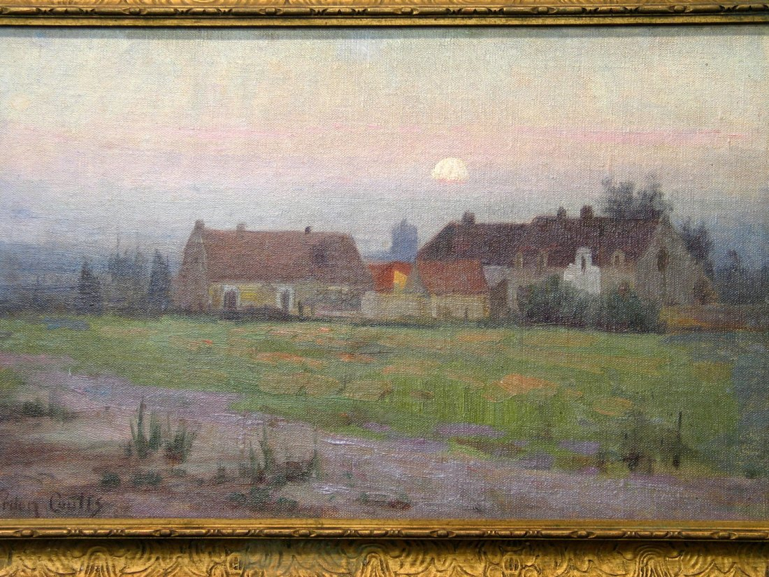 A Homestead by Moonlight oil on Board, by Gordon Coutts