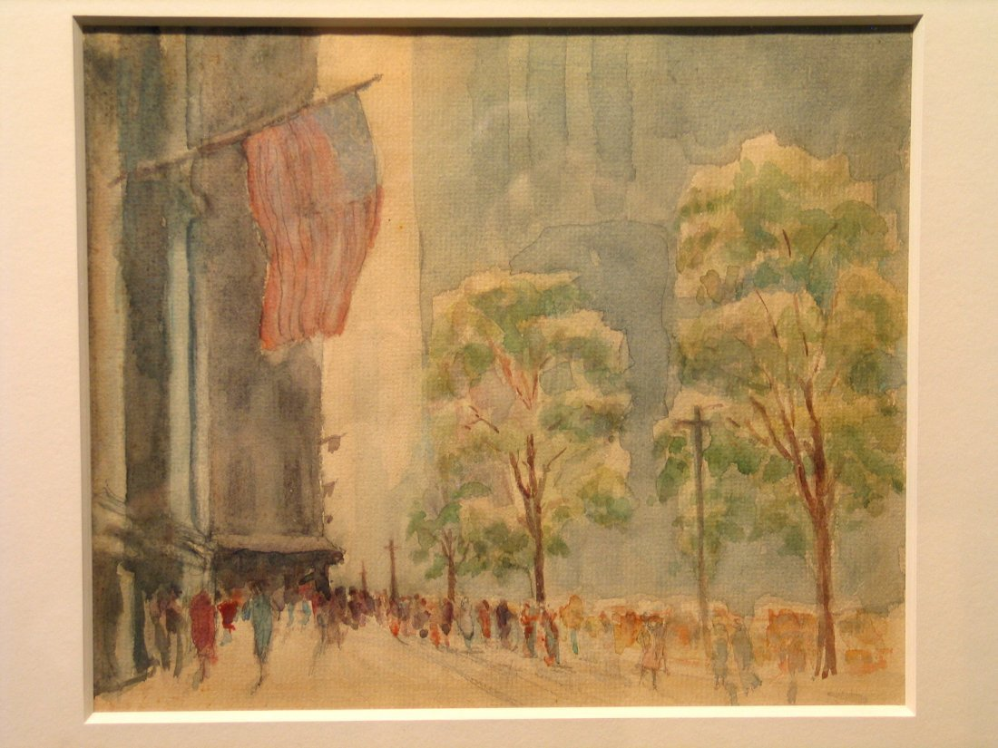 Fifth Avenue with Flags New York City, Water Color, by