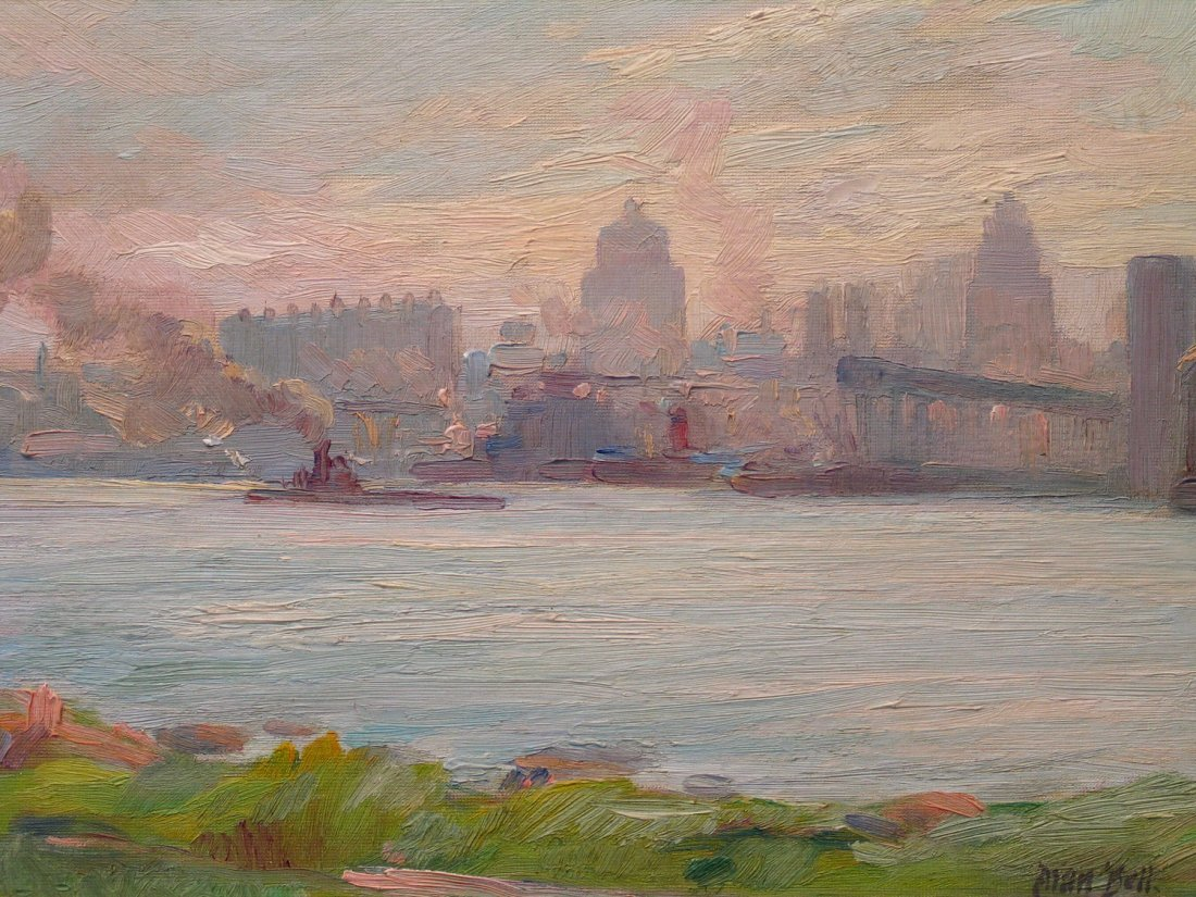 Tugboat on the River, Oil on Board, signed lower right,