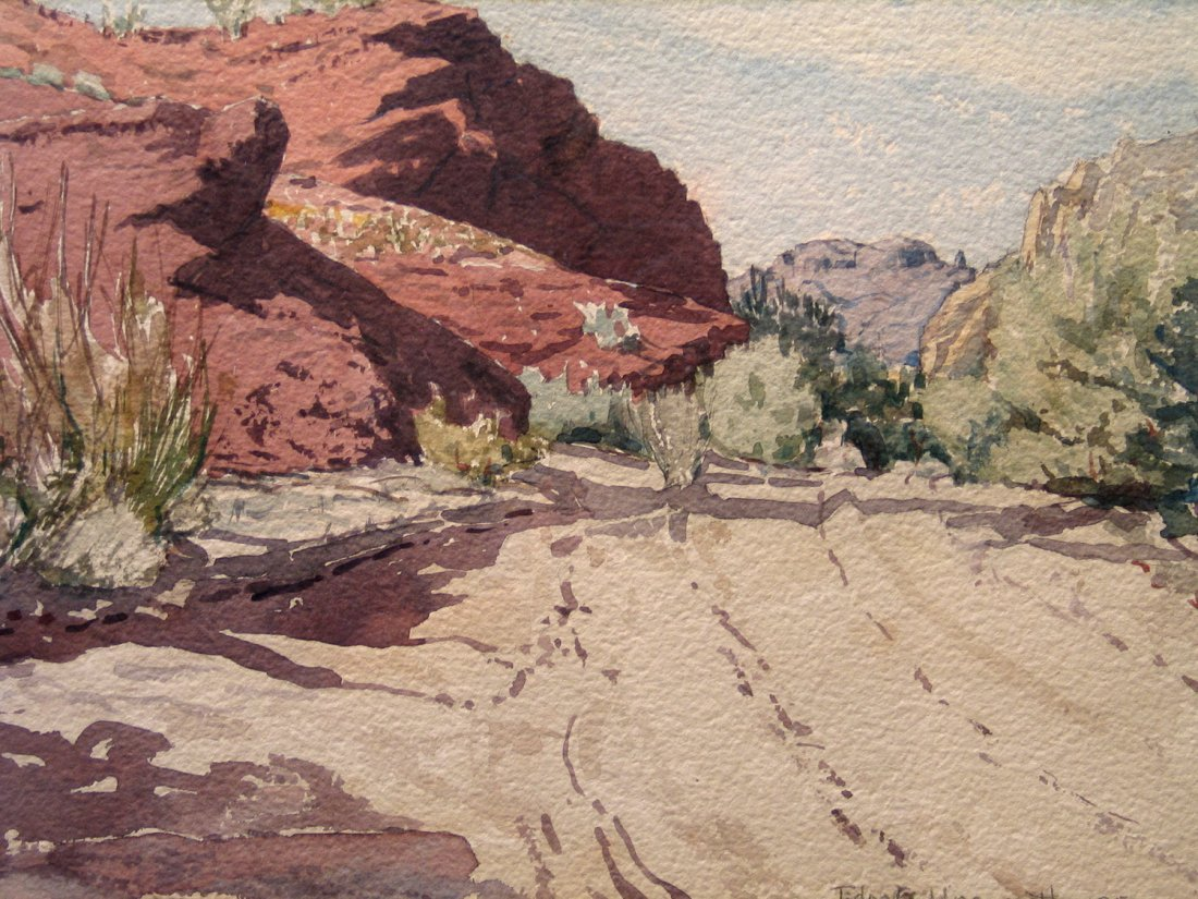 Parker Dam Water Color, signed and dated lower right