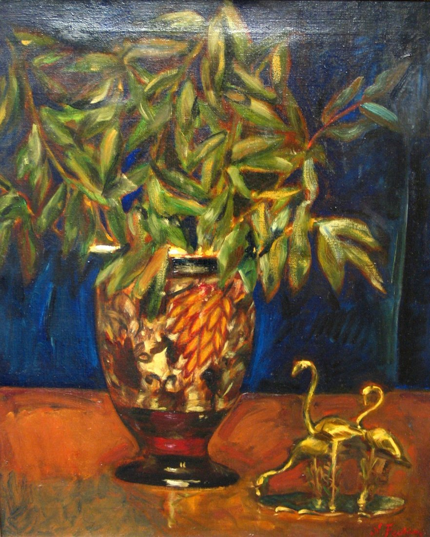 Still Life with Eucalyptus Leaves and Flamingos, Oil on