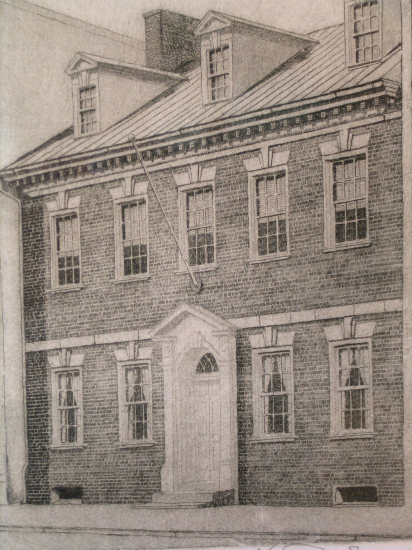 Gadsby's Tavern, Alexandria, Virginia, Etching, signed