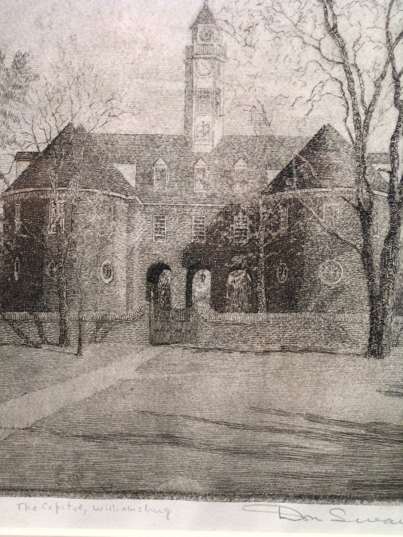 The Capitol, Williamsburg, Etching, Signed by Don