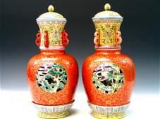 Pair of Chinese Famille Rose Porcelain Lantern Lamps,