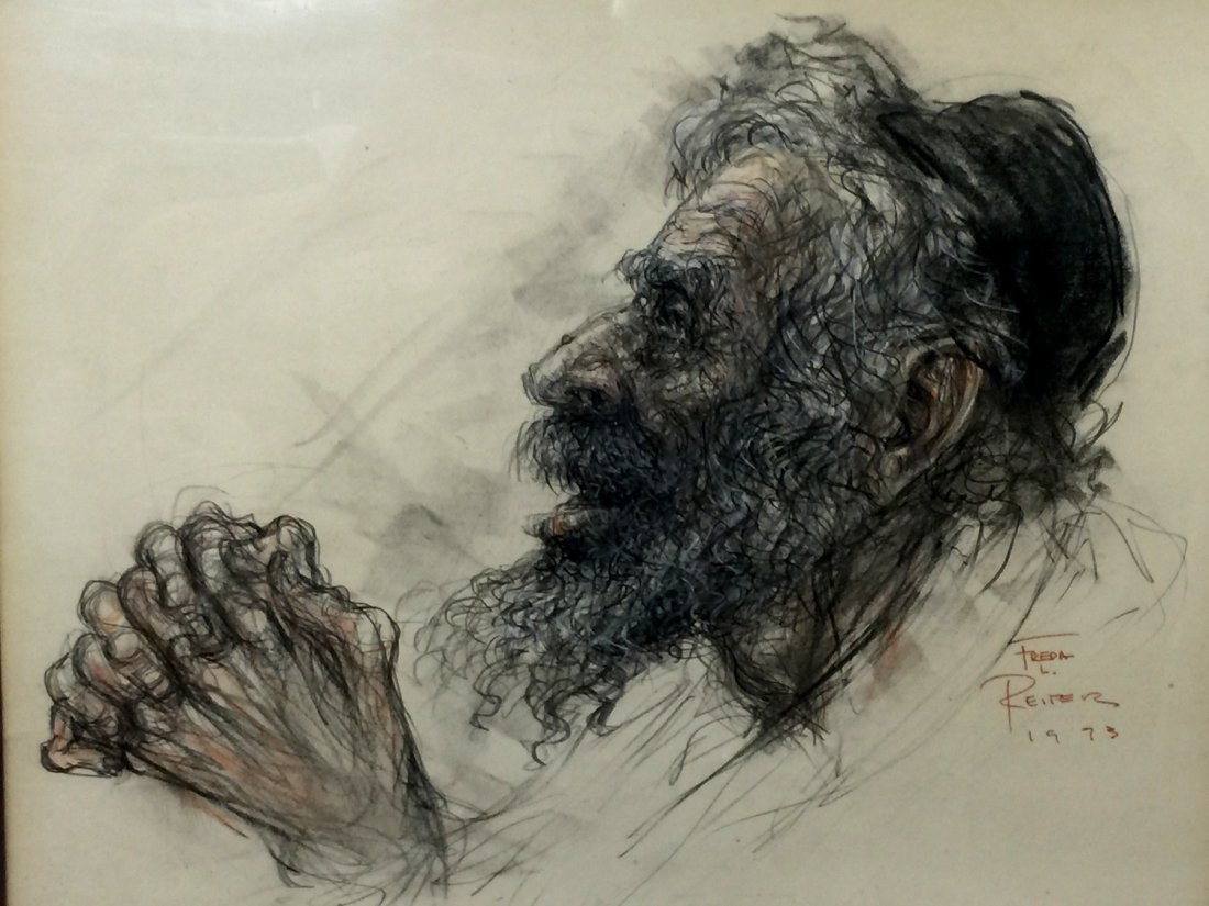 Old Man Praying, Pencil Painting on Paper, Signed by