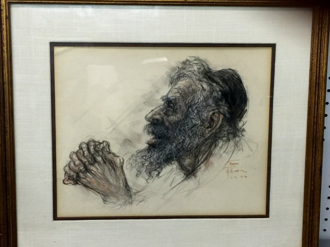 Old Man Praying, Pencil Painting on Paper, Signed by - 2