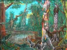 Forest Interior Scene, Watercolor Usko Ayar School of