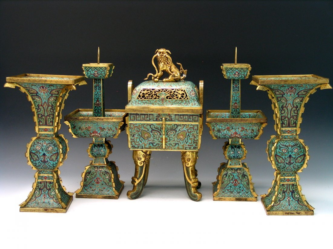 Five Piece Chinese Cloisonne Garniture, Wugong,