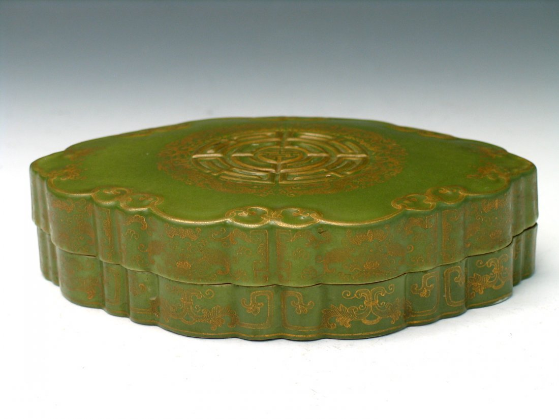 Chinese Gilted Tea Dust Porcelain Box, Qianlong Mark.