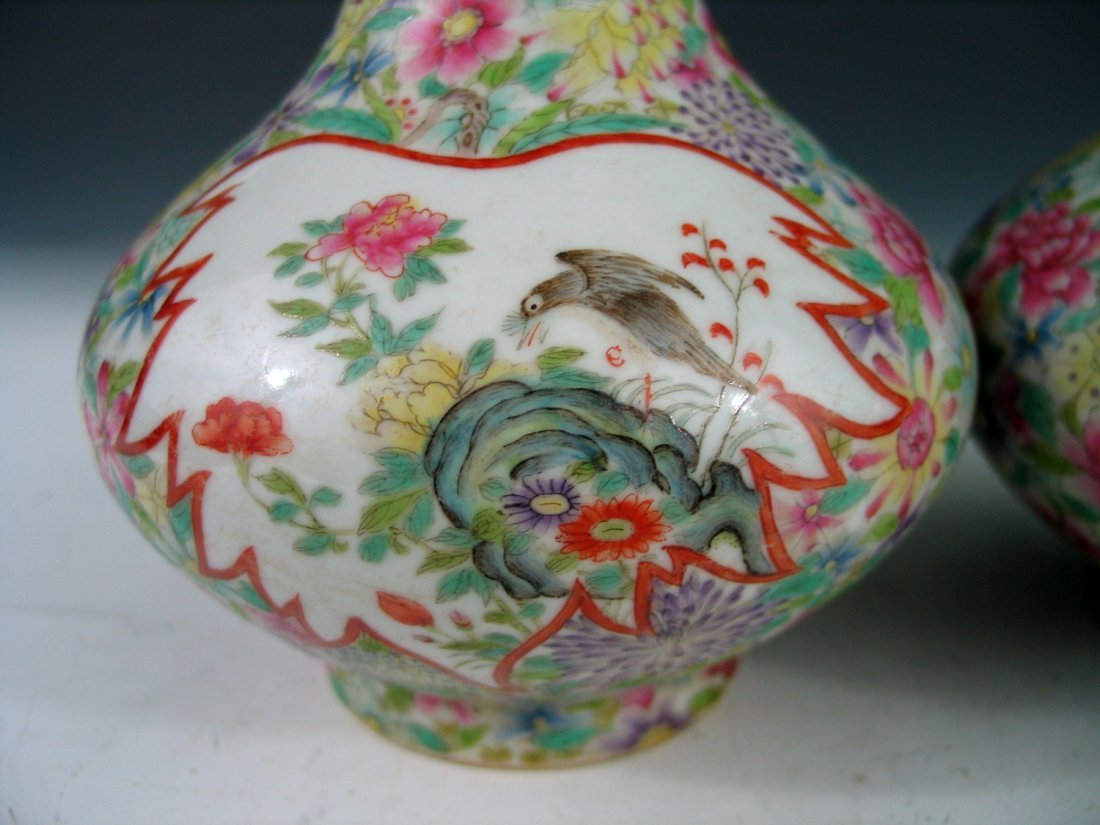 Pair of Chinese Famille Rose Porcelain Vases, Qianlong - 2