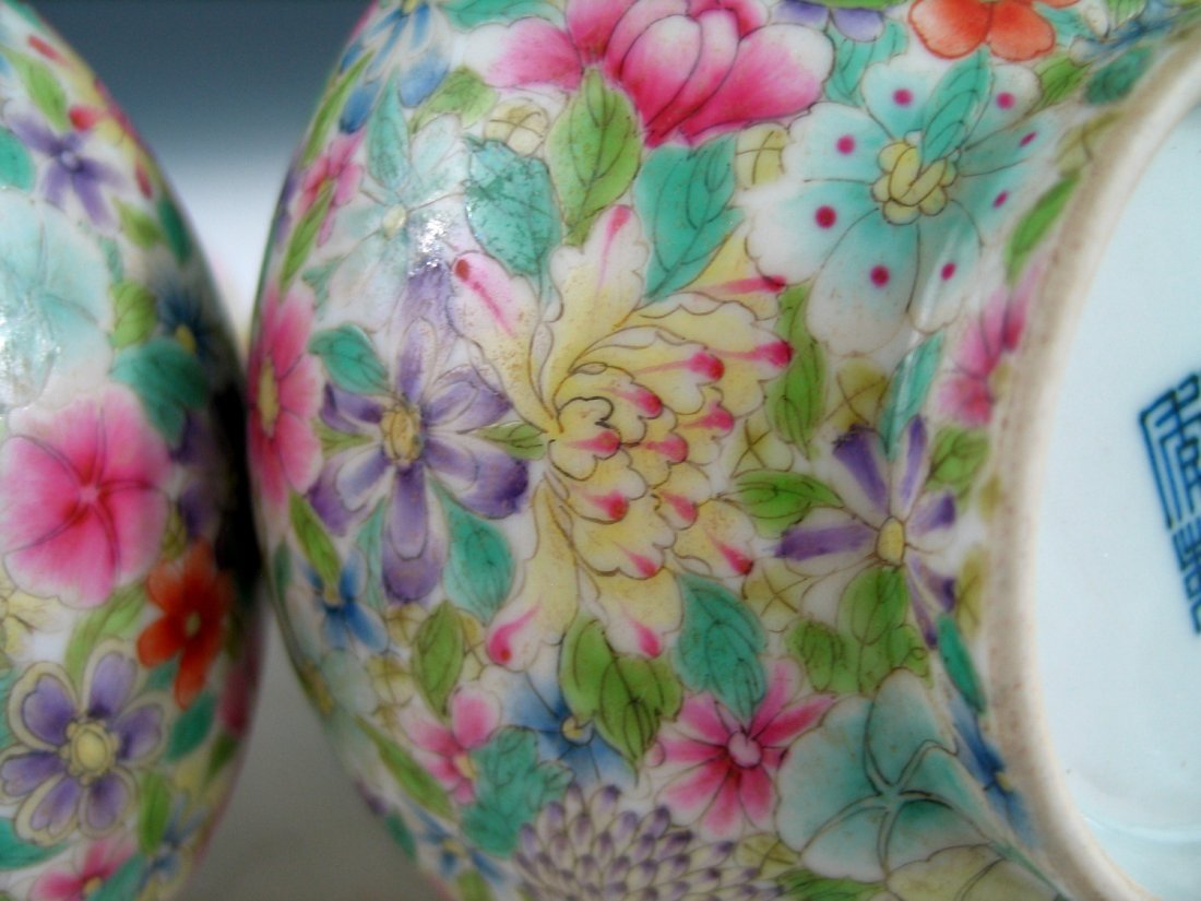 Pair of Chinese Famille Rose Porcelain Vases, Qianlong - 7