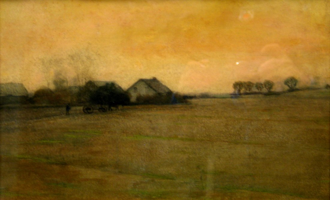Pa Homestead Tonalist Painting, Mixed Media, by William