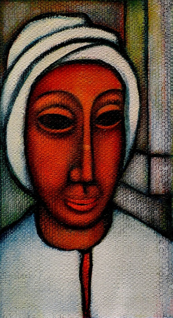 Woman in White Turban, Gouache on Board, by Charles