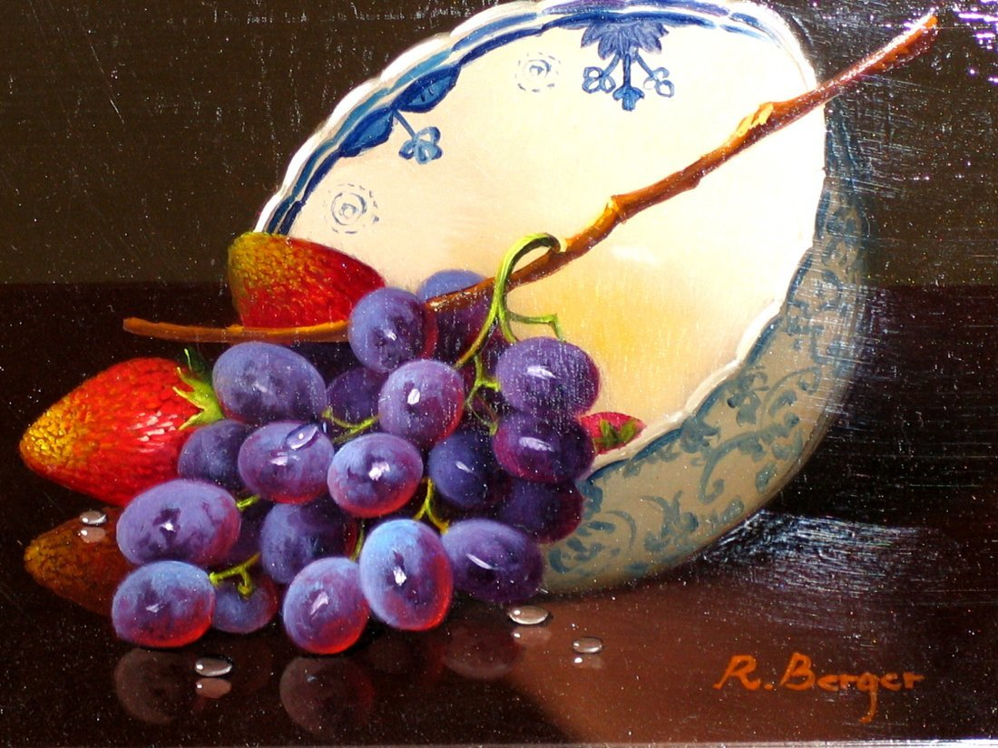 Grapes with Bowl, Oil on Board, signed by Rath Berger.