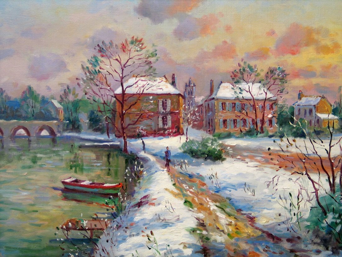 Neige A Moret Sur Loing, Oil on Canvas, signed by Jean