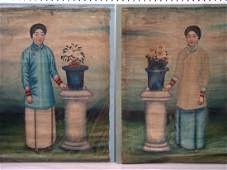 A pair of19 th century Chinese oil painting on canvas.
