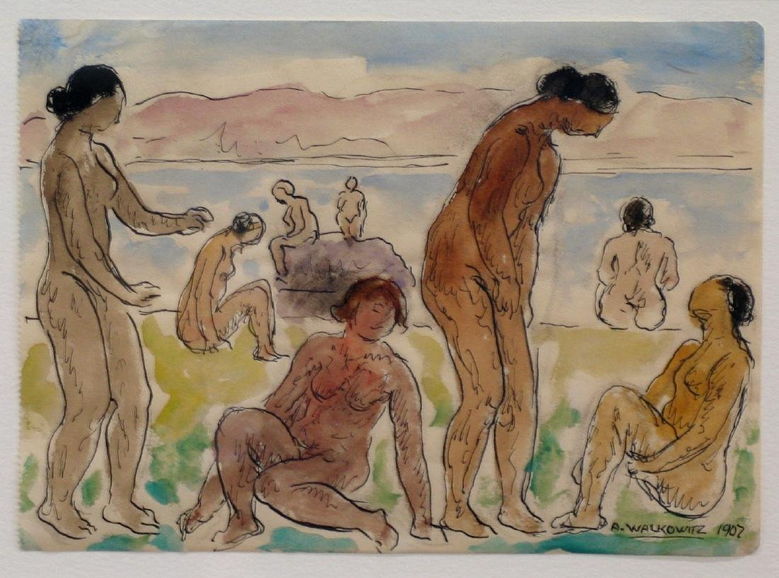 Eight female nude bathers water color on paper, signed