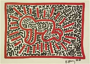 KEITH HARING ORIGINAL SIGNED DRAWING-COA