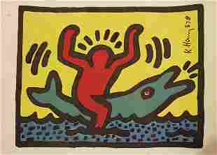 KEITH HARING ORIGINAL MIXED MEDIA SIGNED DRAWING-COA