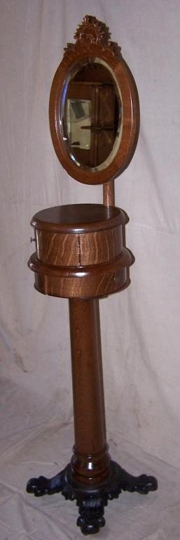 31: Oak Shaving Stand with Mirror