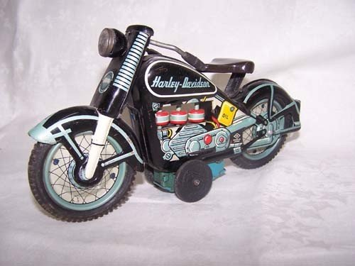6: 1959 Harley Davidson Tin Motorcycle Japan Toy - 2