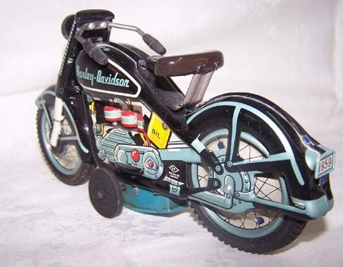 6: 1959 Harley Davidson Tin Motorcycle Japan Toy - 3