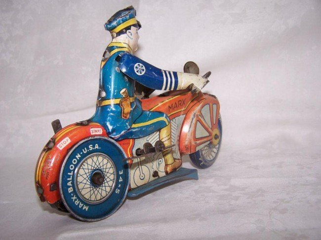 7: Marx Toy Police Motorcycle - 3