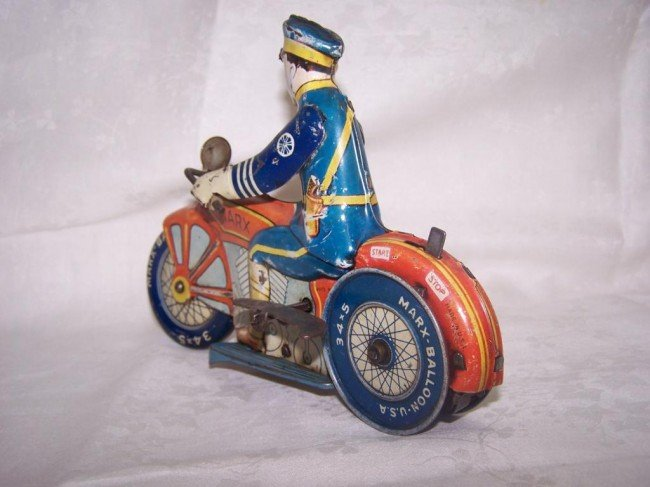 7: Marx Toy Police Motorcycle - 4
