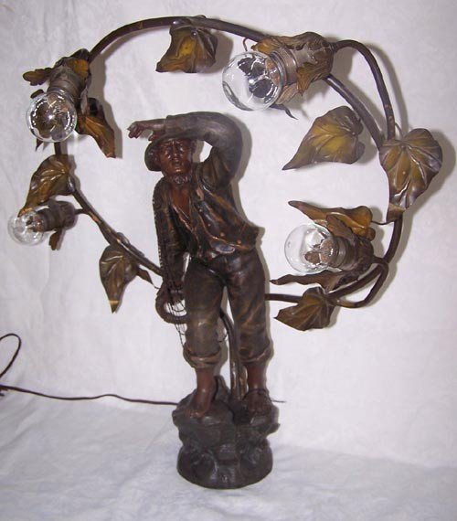 21: Figural Spelter French Lamp