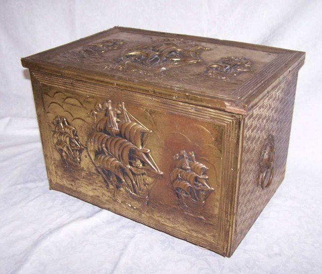 10: English Wood and Brass Coal Box