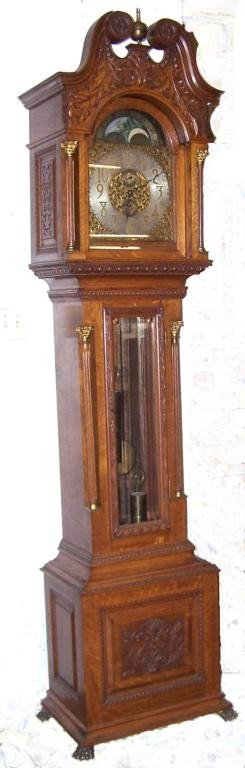 92: American Oak Long Case Clock