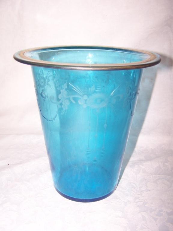 16B: Blue & Gold Etched Blue Vase