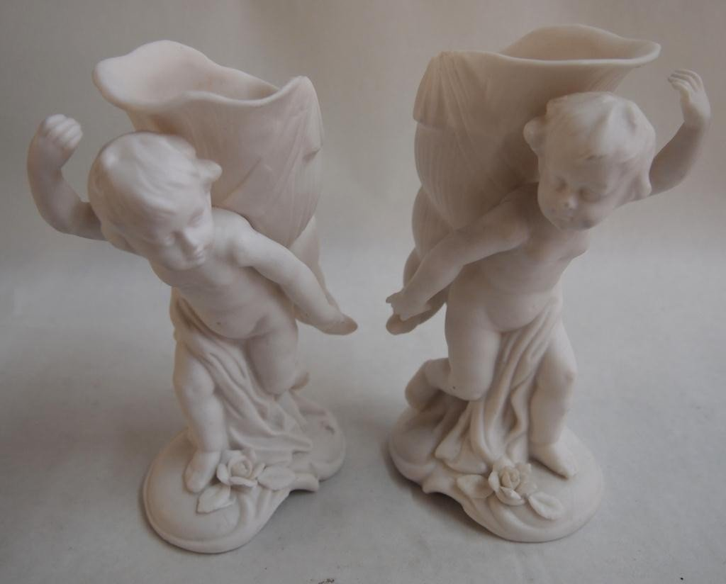 9: Pair of Cupid Figurines with Horns of Plenty