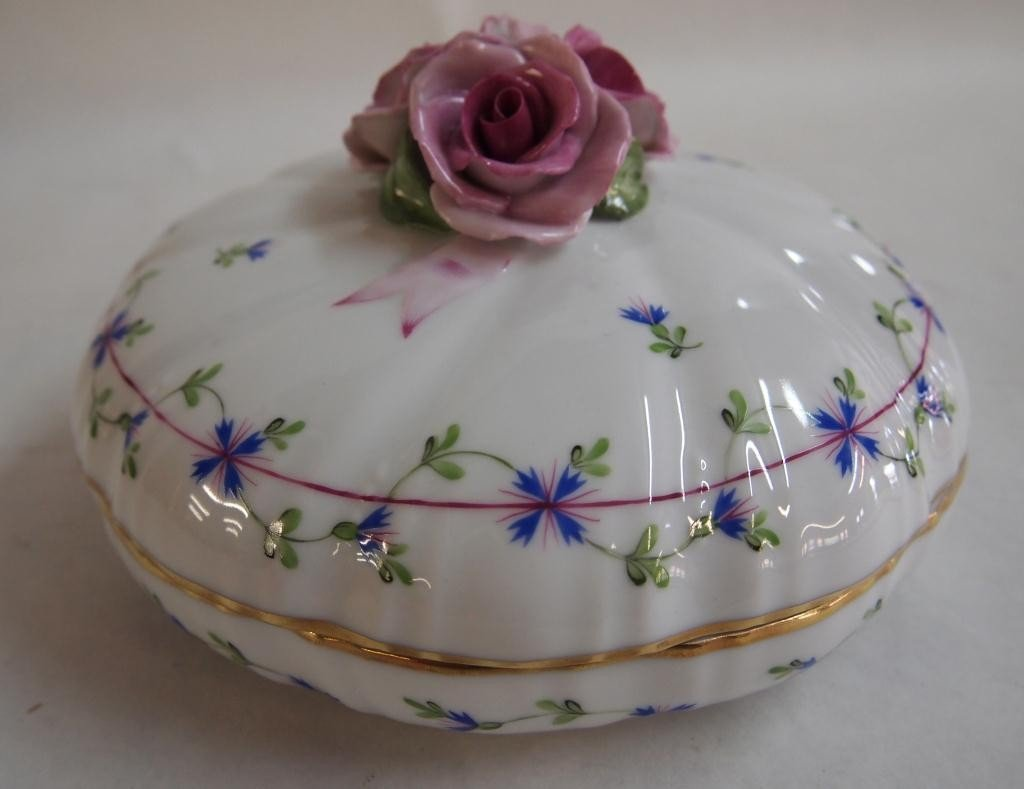 12: Herend Porcelain Hand Painted Covered Dish