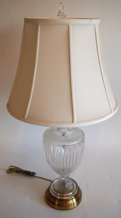 22: Brass & Pressed Glass Table Lamp with Silk Shade
