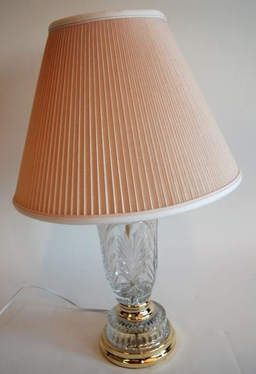 23: Brass & Pressed Glass Table Lamp w/ Shade