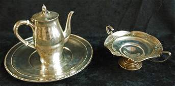 47: Sterling Silver Platter and Tea Set