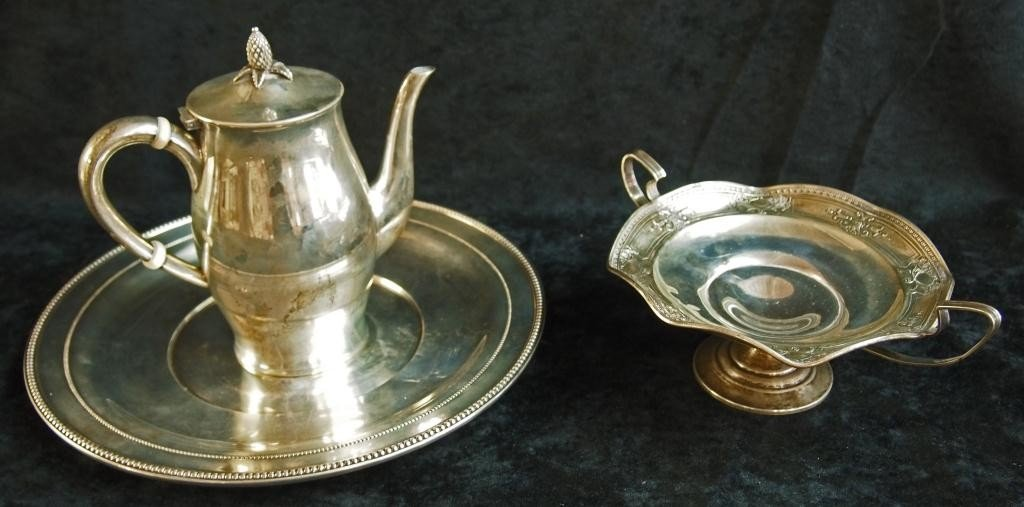 47: Sterling Silver Platter and Tea Set