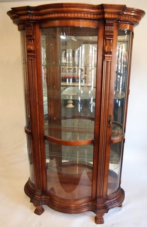 curved glass curio cabinet cabinets matttroy. Black Bedroom Furniture Sets. Home Design Ideas