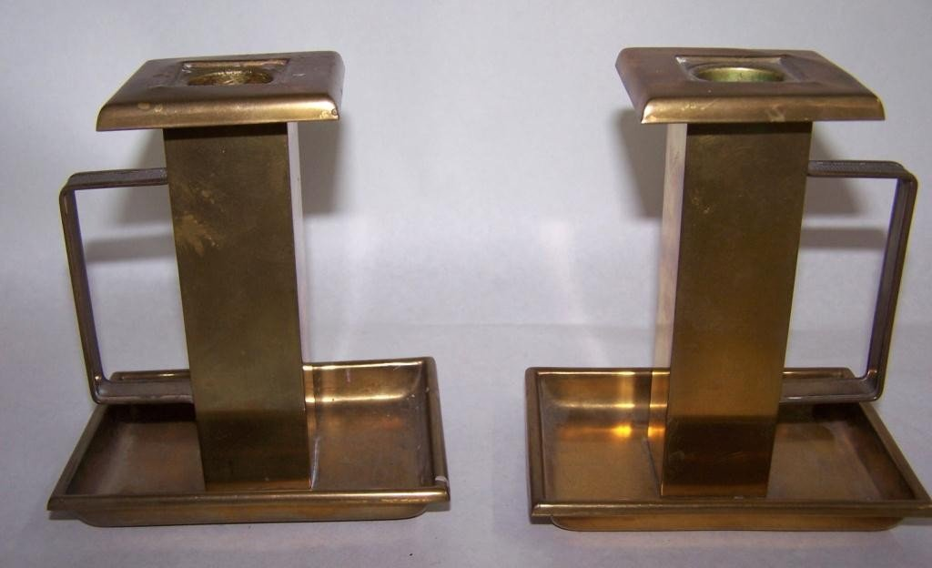 10: Bradley & Hubbard Brass Candle Holders