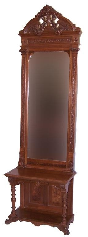 101: Fancy Victorian Walnut Hall Mirror