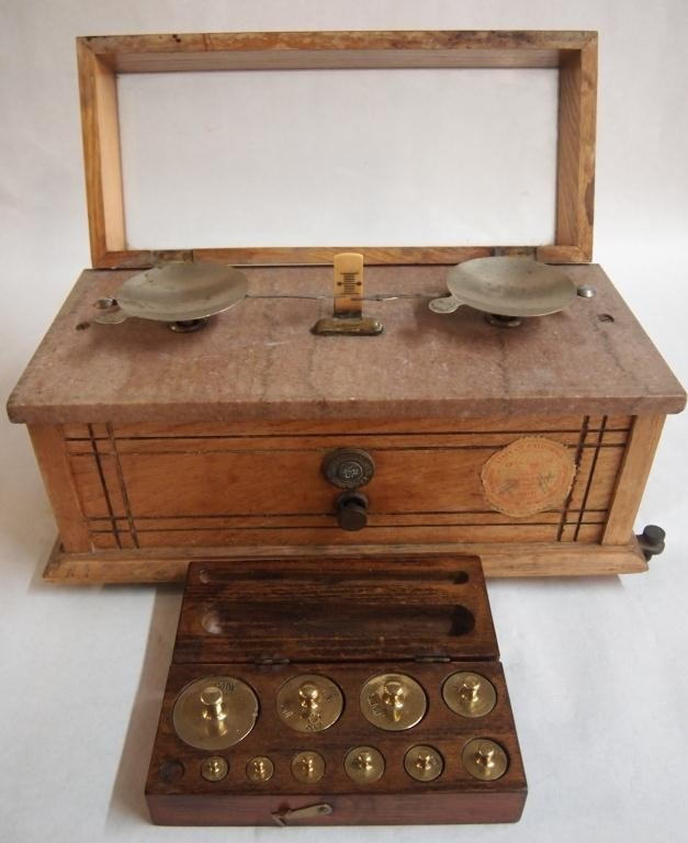 7: Early Gold Scale by Henry Troemner with Weights