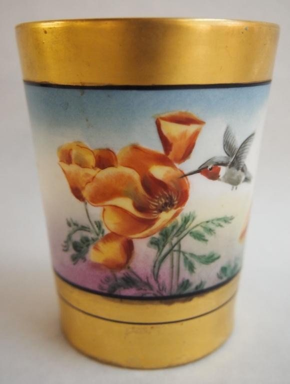 10: French Gold & Enameled Cup w/ Hummingbird