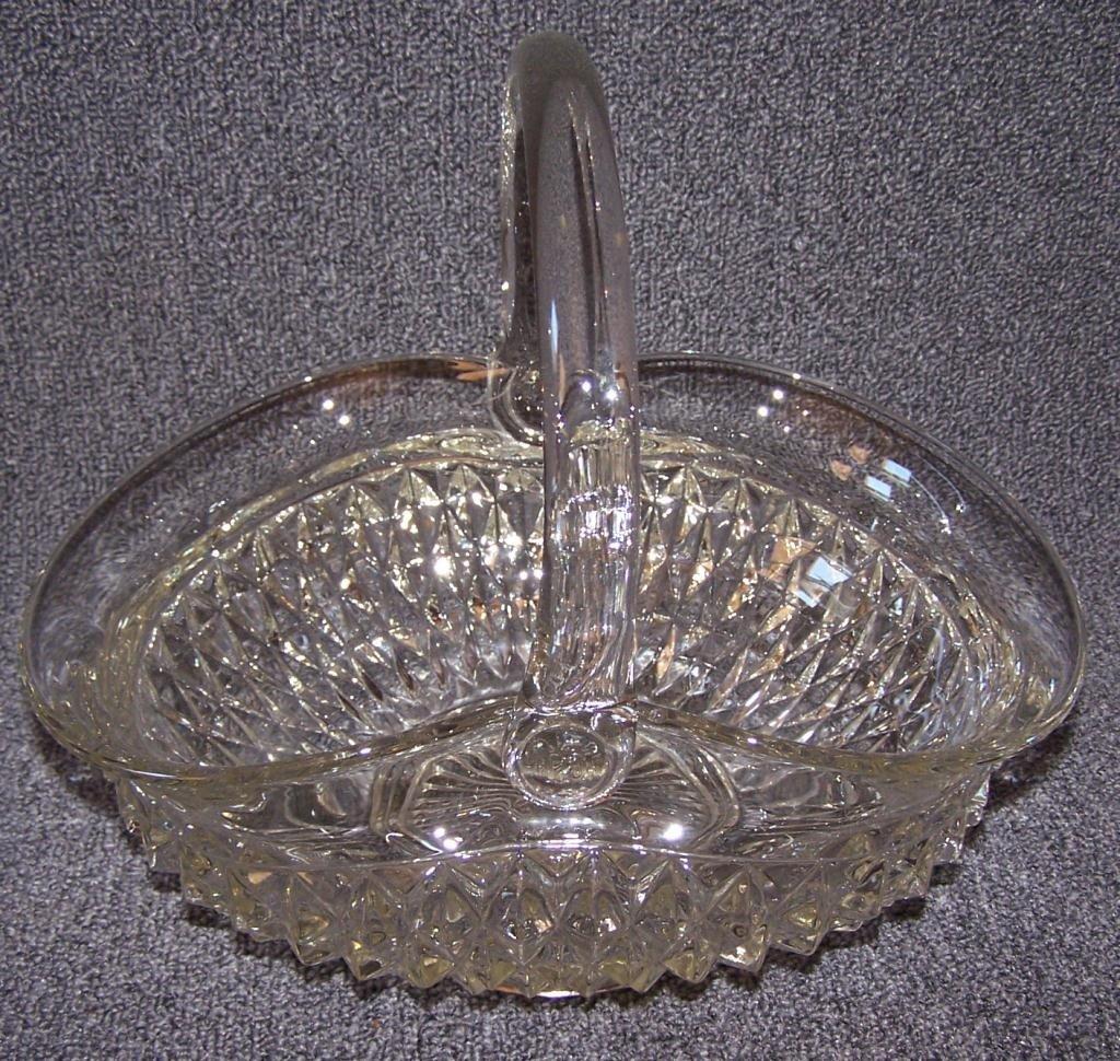 11: Large Press Glass Brides Basket